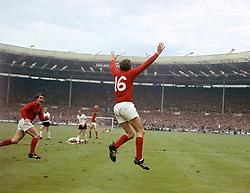 England's Martin Peters celebrates scoring his team's second goal as teammate Geoff Hurst (l) runs to congratulate him