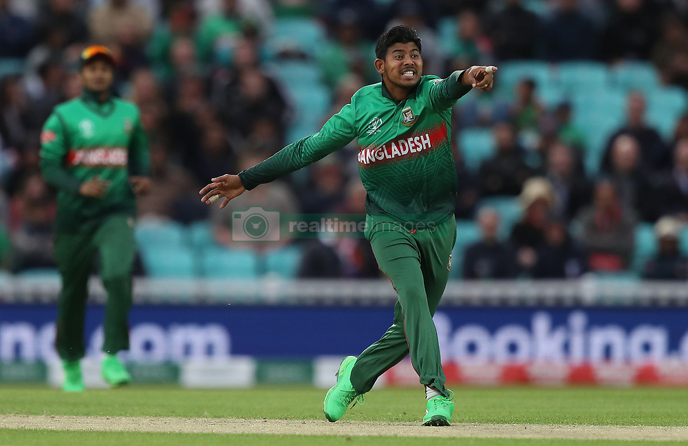 Bangladesh's Mosaddek Hossain celebrates taking the wicket of New Zealand's Ross Taylor during the ICC Cricket World Cup group stage match at The Oval, London.
