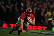 Leigh Halfpenny of Wales scores his 1st try of the match. RBS Six nations championship 2012, Wales v Scotland at the Millennium Stadium in Cardiff on Sunday 12th Feb 2012.  pic by Andrew Orchard, Andrew Orchard sports photography,