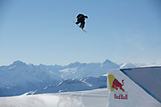 Canadian professional snowboarder, Max Parrot riding the rail section during the 2017 Laax Open Slopestyle final on 20th January 2017 in Laax, Switzerland. The Laax Open is a FIS Snowboarding World Championship competition in Laax ski resort.