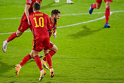 LEUVEN, BELGIUM - Sunday, November 15, 2020: Belgium's Dries Mertens (R) celebrates after scoring the second goal during the UEFA Nations League Group Stage League A Group 2 match between England and Belgium at Den Dreef. Belgium won 2-0. (Pic by Jeroen Meuwsen/Orange Pictures via Propaganda)