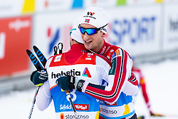 February 22, 2019 - Seefeld In Tirol, AUSTRIA - 190222 Jan Schmid of Norway and Espen Bjørnstad of Norway hug after competing in men's nordic combined 10 km Individual Gundersen during the FIS Nordic World Ski Championships on February 22, 2019 in Seefeld in Tirol..Photo: Joel Marklund / BILDBYRÃ…N / kod JM / 87882 (Credit Image: © Joel Marklund/Bildbyran via ZUMA Press)