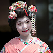Portrait of Japanese Geisha in Kyoto.