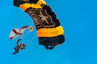 HOMESTEAD, FL - NOVEMBER 5, 2012: Member of the US Army Golden Knights team landing during the Wings over Homestead Air Show, taken November 5 2012.