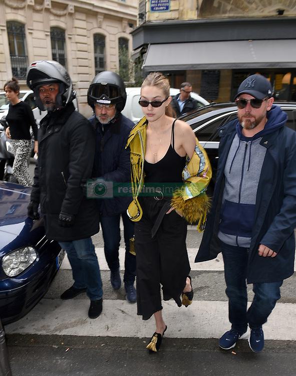 Gigi Hadid is seen leaving her hotel and arriving at the Izabel Marant fitting rooms in Paris<br /><br />27 September 2017.<br /><br />Please byline: Vantagenews.com