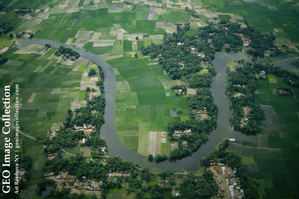 Aerial view of the area most affected by flood water from the Jamuna River.  Ma jor Quereshi, the secretary general of the Red Crescent Society, says the flood is bad but not severe.  This aerial coverage was shot along a North South line on the west bank of the Jamuna River from Serajgonj; north to town of Gaibandah and south t o the intersection of the Jamuna and Padma Rivers.
