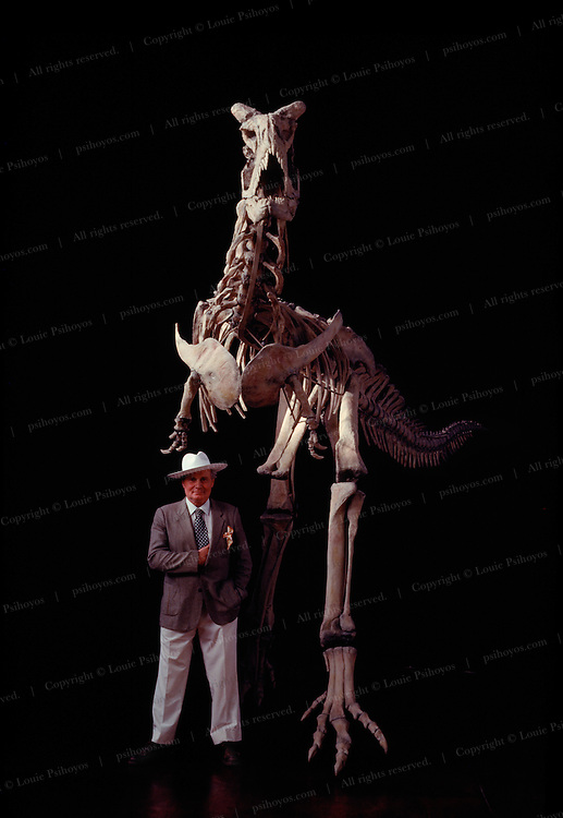 """One of the strange mutations that developed when South America split off from the other continents for 65 million years was Carnotaurus, the """"meat-eating bull,"""" a predator that grew horns on its head.  Circa 1993"""