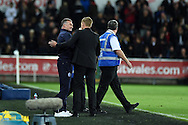 Leicester city manager Nigel Pearson with Swansea city manager Garry Monk at end of match. Barclays Premier league match, Swansea city v Leicester city at the Liberty stadium in Swansea, South Wales on Saturday 25th October 2014<br /> pic by Andrew Orchard, Andrew Orchard sports photography.