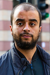 Yusuf Elhabachi, 25, is said to be in breach of a harassment notice by turning up at the One by One tattoo parlour in Soho, central London, following complaints by the owner Helen Green outside the City of London Magistrates Court. London, September 07 2018.