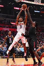 February 13, 2019 - Los Angeles, CA, U.S. - LOS ANGELES, CA - FEBRUARY 13: Phoenix Suns Forward Kelly Oubre Jr. (3) drives to the basket during a NBA game between the Phoenix Suns and the Los Angeles Clippers on February 13, 2019 at STAPLES Center in Los Angeles, CA. (Photo by Brian Rothmuller/Icon Sportswire) (Credit Image: © Brian Rothmuller/Icon SMI via ZUMA Press)