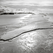 Erebus Ice Tongue, an extension of the Erebus Glacier, extending out into McMurdo Sound, photographed on flight to Cape Royds.