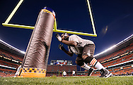 CLEVELAND, OH - OCTOBER 13: Louis Leonard #93 of the Cleveland Browns goes through pre-game drills before a game against the New York Giants at Cleveland Stadium on October 13, 2008 in Cleveland, Ohio. The Browns defeated the Giants 35 to 14. *** Local Caption *** Louis Leonard