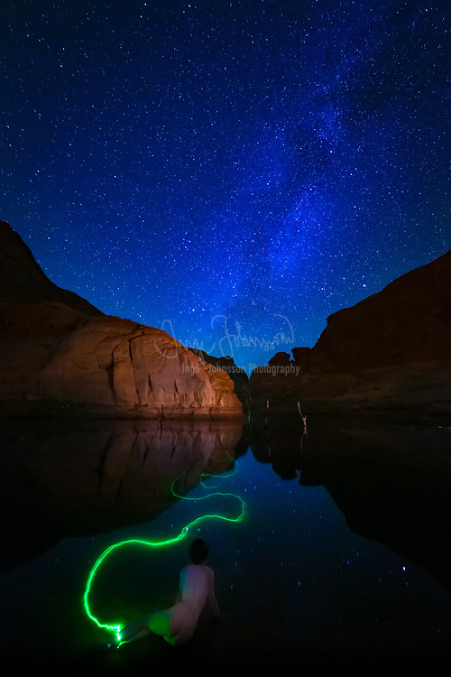 """Model Marissa Merrill at Lake Powell with the Milky Way overhead.  This was captured in October 2014 as part of the """"Dynamic Nude"""" workshop with Joel Belmont and Craig Blacklock."""