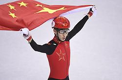 PYEONGCHANG, Feb. 22, 2018  Wu Dajing of China celebrates victory in men's 500m final of short track speed skating at the 2018 PyeongChang Winter Olympic Games at Gangneung Ice Arena, Gangneung, South Korea, Feb. 22, 2018. Wu Dajing claimed gold medal in a time of 0:39.584 and set new world record. (Credit Image: © Ju Huanzong/Xinhua via ZUMA Wire)