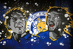 A mural of Leicester City's Shinji Okazaki (right) and Leonardo Ulloa before the Carabao Cup, third round match at the King Power Stadium, Leicester.