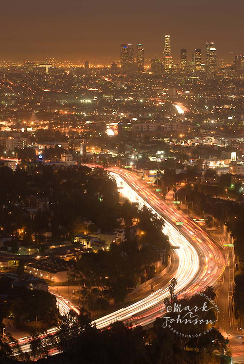 Los Angeles at night from Mulholland Drive, Downtown in background, 101 Freeway in foreground, Los Angeles, California