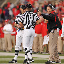 Oct 10, 2009; Piscataway, NJ, USA; Rutgers head coach gives the thumbs up to a call by referees during second half NCAA college football action in Rutgers' 42-0 victory over Texas Southern at Rutgers Stadium.