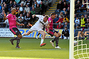 Oli McBurnie (9) of Swansea City is denied a shot at goal by Angel Rangel (22) of Queens Park Rangers during the EFL Sky Bet Championship match between Swansea City and Queens Park Rangers at the Liberty Stadium, Swansea, Wales on 29 September 2018.