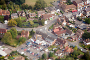 English village seen from airplane while flying low over it