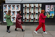 Attendees arrive before the next catwalk show at the BFC Show Space in the Strand, during 2019 London Fashion Week 2019, 18th February 2019, in London, England.