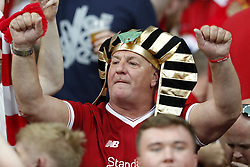 fan of Liverpool FC as a pharaoh during the UEFA Champions League final between Real Madrid and Liverpool on May 26, 2018 at NSC Olimpiyskiy Stadium in Kyiv, Ukraine