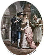 Romeo and Juliet' play by Wiliam Shakespeare written c1895.  Romeo and Juliet meeting clandestinely.  Juliet's nurse acts as a lookout. After a Bartolozzi print published ondon 1785.