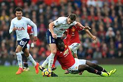 28th October 2017 - Premier League - Manchester United v Tottenham Hotspur - Jan Vertonghen of Spurs battles with Romelu Lukaku of Man Utd - Photo: Simon Stacpoole / Offside.