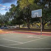 The City of Orlando parks and recreation division has pulled down basketball hoops to break up groups from gathering and to social distance each other due to the Coronavirus (Covid-19) outbreak on Tuesday, April 7, 2020 in Orlando, Florida. (Alex Menendez via AP)