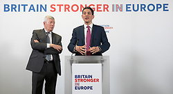 Church House, Dean's Yard, Westminster, London, April 12th 2016. Britain Stronger in Europe hold a keynote speech by former Foreign Secretary David Miliband on the foreign policy implications of Britain leaving Europe. Pictured: Former Home Secretary Alan Johnson looks on as David Miliband takes questions from the floor.<br /> ©Paul Davey<br /> FOR LICENCING CONTACT: Paul Davey +44 (0) 7966 016 296 paul@pauldaveycreative.co.uk