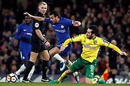 Mario Vrancic of Norwich City (R) tackles Pedro of Chelsea (L).The Emirates FA Cup, 3rd round replay match, Chelsea v Norwich City at Stamford Bridge in London on Wednesday 17th January 2018.<br /> pic by Steffan Bowen, Andrew Orchard sports photography.