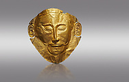 Mycenaean gold death mask, Mask of Agamemnon, Grave Cicle A, Mycenae, Greece.National Archaeological Museum of Athens.  Grey Background<br /> <br /> <br /> The mask from Grave V depicts an imposing face of a bearded man descovered by  Heinrich Schliemann who believed it was the body of Agamemnon, this is unproven to date.  The Mycenaean death mask belonged to a warrior and made of gold leaf it cocered the dead mans face held on by cord threaded tgrough the two sides of the mask.  The mask of Agamemnon was created from a single thick gold sheet, heated and hammered against a wooden background with the details chased on later with a sharp tool. The artifact dates from the 16th century BC. .<br /> <br /> If you prefer to buy from our ALAMY PHOTO LIBRARY  Collection visit : https://www.alamy.com/portfolio/paul-williams-funkystock/mycenaean-art-artefacts.html . Type -   Athens    - into the LOWER SEARCH WITHIN GALLERY box. Refine search by adding background colour, place, museum etc<br /> <br /> Visit our MYCENAEN ART PHOTO COLLECTIONS for more photos to download  as wall art prints https://funkystock.photoshelter.com/gallery-collection/Pictures-Images-of-Ancient-Mycenaean-Art-Artefacts-Archaeology-Sites/C0000xRC5WLQcbhQ
