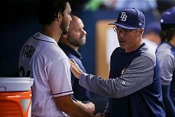 June 7, 2017 - St. Petersburg, Florida, U.S. - WILL VRAGOVIC   |   Times.Tampa Bay Rays starting pitcher Jacob Faria (34) with bench coach Tom Foley (6) after being relieved in the seventh inning of the game between the Tampa Bay Rays and the Chicago White Sox at Tropicana Field in St. Petersburg, Fla. on Wednesday, June 7, 2017. (Credit Image: © Will Vragovic/Tampa Bay Times via ZUMA Wire)
