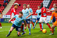 Charlton Athletic forward Lyle Taylor (9) shoots towards the goal during the EFL Sky Bet League 1 match between Charlton Athletic and Accrington Stanley at The Valley, London, England on 19 January 2019.