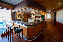 Gin bar inside Queen Elizabeth 2 former ocean liner now reopened as hotel in Dubai , United Arab Emirates