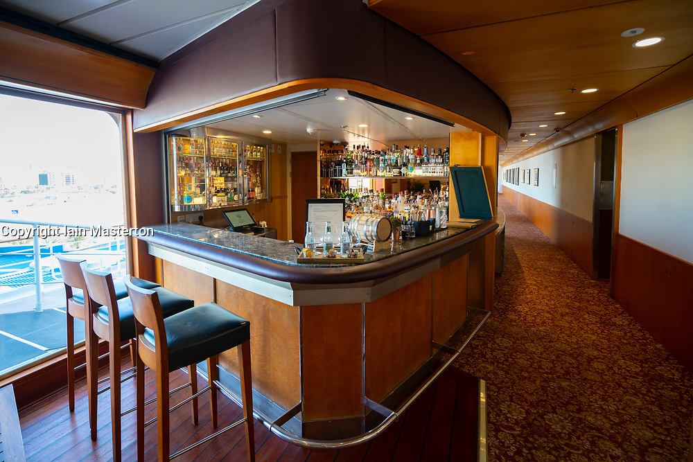 Gin bar inside Queen Elizabeth 2 former ocean liner now reopened as hotel in Dubai , United Arab Emirates