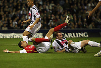 Photo: Rich Eaton.<br /> <br /> West Bromwich Albion v Arsenal. Carling Cup. 24/10/2006. Jeremie Aliadiere goes down in the box, fouled by Steve Watson (rt) and scores from the the penalty spot
