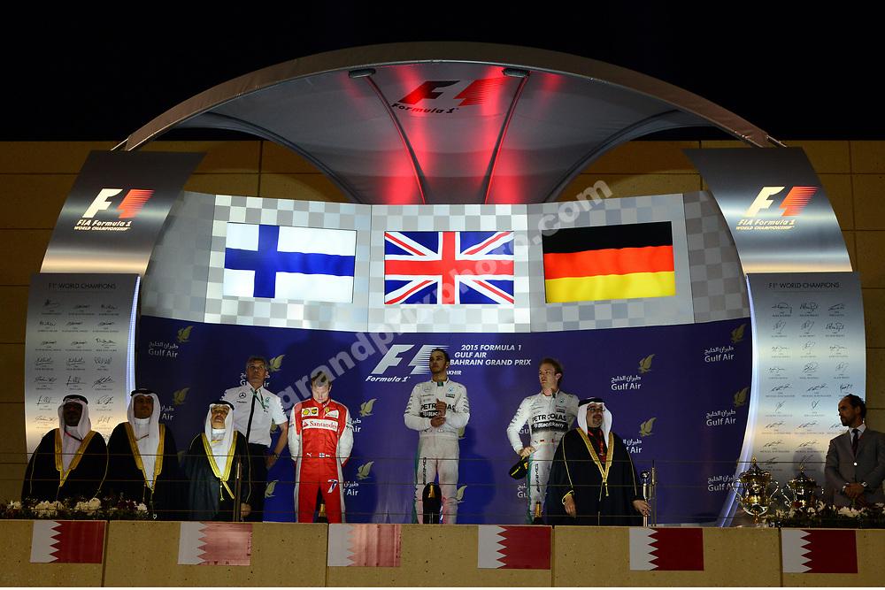 Lewis Hamilton, Nico Rosberg (both Mercedes) and Kimi Raikkonen (Ferrari) on the podium after the 2015 Bahrain Grand Prix. Photo: Grand Prix Photo