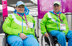 Damjan Pavlin and Franc Pinter, shooting athlete of Slovenian Paralympic team at Day 1 of Summer Paralympic Games London 2012 on August 29, 2012, in Olympic Park, London, Great Britain. (Photo by Vid Ponikvar / Sportida.com)