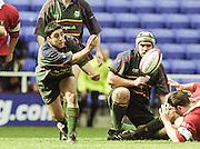 Reading. England. UK.  Scrum Half, Kieran CAMPBELL. Premiership Rugby. London Irish vs Gloucester Rugby. 16.04.2001. Madejski Stadium. <br /> <br /> [Mandatory Credit, Peter Spurrier/ Intersport Images].