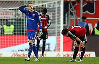 BILDET INNGÅR IKEK I FASTAVTALER. ALL NEDLASTING BLIR FAKTURERT.<br /> <br /> Fotball<br /> Tyskland<br /> Foto: imago/Digitalsport<br /> NORWAY ONLY<br /> <br /> 1. Bundesliga - Fußball - FC Ingolstadt 04 - Bayer 04 Leverkusen - Spiel ist aus Niederlage 0:1 Torwart Ørjan Håskjold Nyland (26, FCI) Romain Bregerie (18, FCI) 1. BL - FC Ingolstadt 04 Saison 2015/2016 Bayer 04 Leverkusen