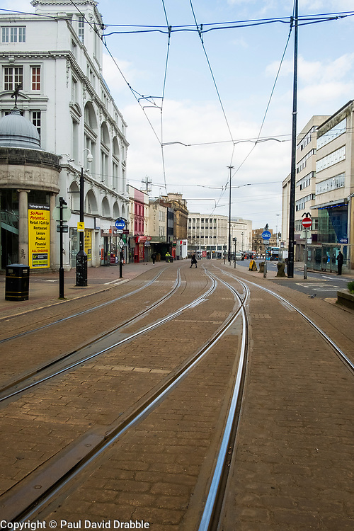 Sheffield Friday 3 April 2020 <br /> Coronavirus Covid-19 Sheffields second week of Lockdown the view down the Tramtrack High Street at the bottom of Fargate<br /> <br /> www.pauldaviddrabble.co.uk<br /> All Images Copyright Paul David Drabble - <br /> All rights Reserved - <br /> Moral Rights Asserted -