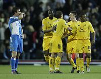 Fotball<br /> Premier League England 2004/2005<br /> Foto: SBI/Digitalsport<br /> NORWAY ONLY<br /> <br /> Blackburn Rovers v Tottenham Hotspur<br /> FA Barclays Premiership.<br /> 04/12/2004.<br /> <br /> Spurs celebrate Robbie Keane goal