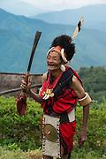 Chang Naga in festival dress<br /> Chang Naga headhunting Tribe<br /> Tuensang district<br /> Nagaland,  ne India