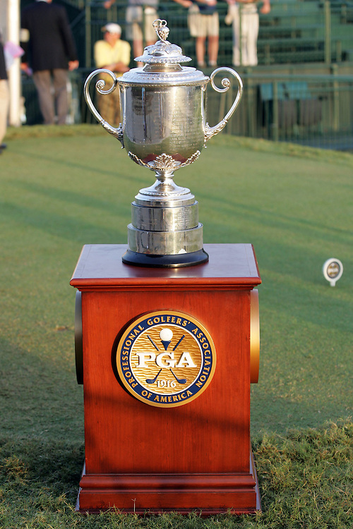 09 August 2007: The Wanamaker Trophy is displayed on the 1st tee box during the first round of the 89th PGA Championship at Southern Hills Country Club in Tulsa, OK.
