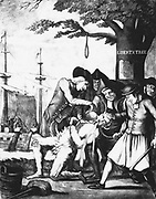 Boston Tea Party, 16 December 1773. Bostonians tarring and feathering the Excise man and forcing tea down his throat. In background tea is being dumped in the harbour. Protest against British rule.  'No taxation without representation'. Lithograph.