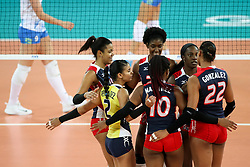 Players of Dominican Republic celebrate during the volleyball match between National team of Slovenia and Dominican Republic in Preliminary Round of Womens U23 World Championship 2017, on September 11, 2017 in SRC Stozice, Ljubljana, Slovenia. Photo by Morgan Kristan / Sportida