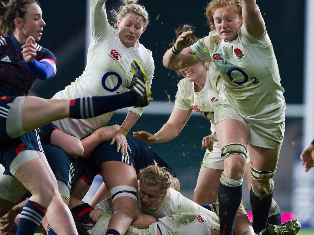 Natasha Hunt and Harriet Millar-Mills try to block Yanna Rivoalen's box kick, England Women v France Women in a 6 Nations match at Twickenham Stadium, London, England, on 4th February 2017 Final Score 26-13.