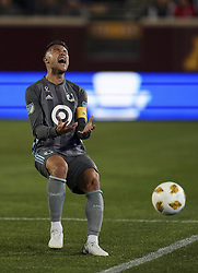 September 22, 2018 - Minneapolis, MN, USA - Minnesota United defender Francisco Calvo (5) reacts after losing the ball out of bounds in the first half against the Portland Timbers on Saturday, Sept. 22, 2018, at TCF Bank Stadium in Minneapolis. The host Loons won, 3-2. (Credit Image: © Aaron Lavinsky/Minneapolis Star Tribune/TNS via ZUMA Wire)