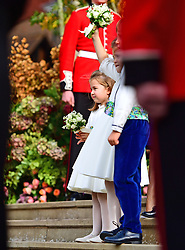 Princess Charlotte outside St George's Chapel, Windsor Castle, following the wedding of Princess Eugenie and Jack Brooksbank.