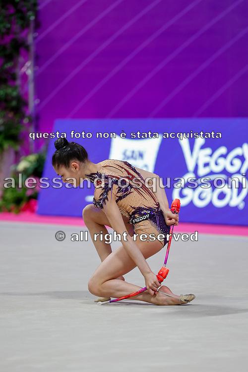 Sofia Raffaeli during the qualification of the Pesaro World Championships at Vitrifrigo Arena on 28/29 May 2021. Sofia is an Italian rhythmic gymnastics born in Ancona in 2004.